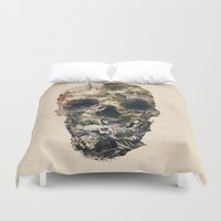 skull Duvet Covers featuring Skull Town by Ali GULEC