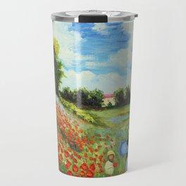 Claude Monet - Poppy Field at Argenteuil Travel Mug
