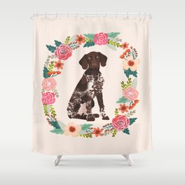 german shorthair pointer floral wreath spring dog breed pet portrait gifts Shower Curtain