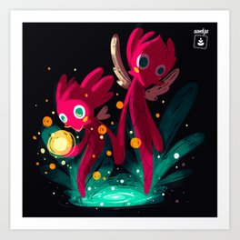 Magical Forest _ Creatures of Light. Never alone Art Print