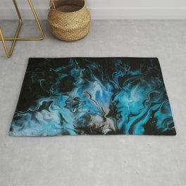 Blue Fire Abstract Marble Art Rug