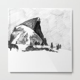 Drawing of Half-Dome in Yosemite from the north Metal Print
