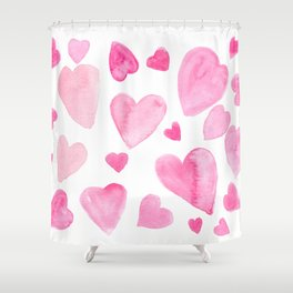Pink Watercolor Hearts Shower Curtain