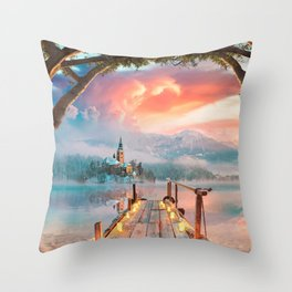 Lake Bled Throw Pillow