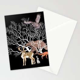 Print with forest animals and tree. Stationery Cards