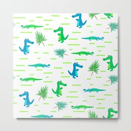 Green and blue crocodiles pattern Metal Print