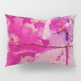 pink floral on crumbling wall Pillow Sham