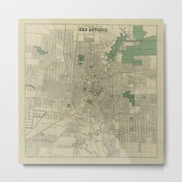 Vintage Map of San Antonio Texas (1909) Metal Print