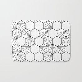 Peacock comb black white geometric pattern Bath Mat
