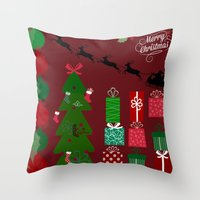 xmas Throw Pillows featuring Xmas by JuniqueStudio