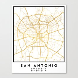 SAN ANTONIO TEXAS CITY STREET MAP ART Canvas Print