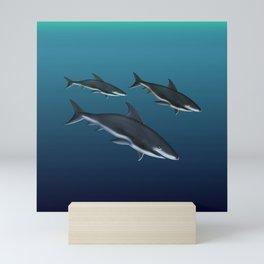 Three Sharks Dive Deep Mini Art Print