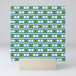 Mix of flag: Israel and brazil Mini Art Print
