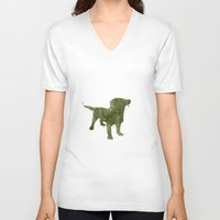 labrador V-neck T-shirts featuring Labrador Retriever by Carma Zoe