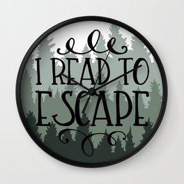 I Read to Escape (Trees) Wall Clock