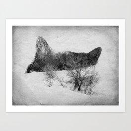 Neko Cat Black & White Art Print