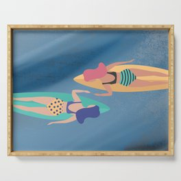 Surf Sisters - Muted Ocean Color Girl Power Serving Tray