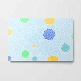 Chrysanthemums in soft pastel blue color shades Metal Print