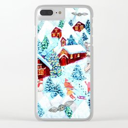 Swiss village in the snow, log cabins, snow days, Alpine watercolor painting by Magenta Rose Designs Clear iPhone Case