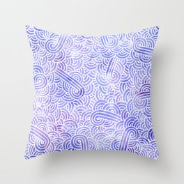 Lavender and white swirls doodles Throw Pillow