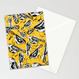 Painted birds on yellow Stationery Cards