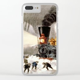 Snow Bound: Vintage Currier & Ives Railroad Scene Clear iPhone Case