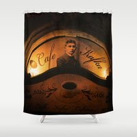 kafka Shower Curtains featuring Cafe Kafka by Bella Blue Photography