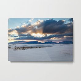 One More Moment - Sunbeams Burst From Clouds Over White Sands New Mexico Metal Print