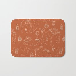 Linocut Camels No. 3 in Terracotta Bath Mat