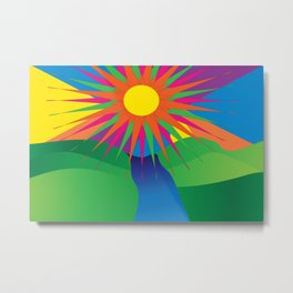 Psychedelic Sun Neon Mountain River Lands Metal Print