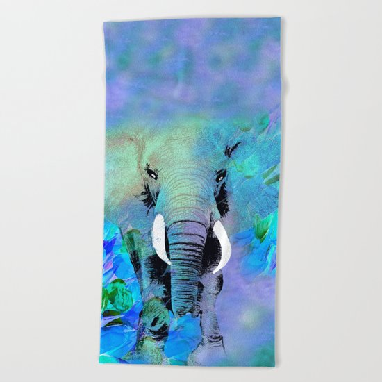 ELEPHANT BLUE Beach Towel