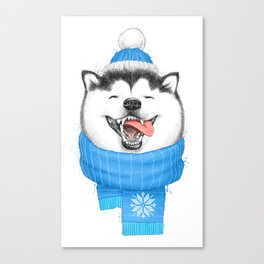 happy husky Canvas Print