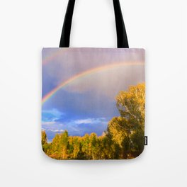 Double rainbow in autumn Tote Bag