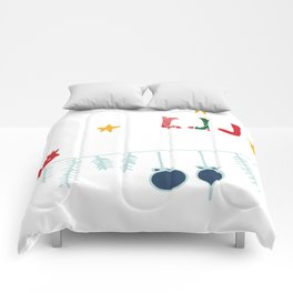 Holiday bird white Comforters