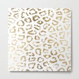 Modern white chic faux gold foil leopard print Metal Print