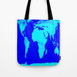 World Map Turquoise Blue Tote Bag