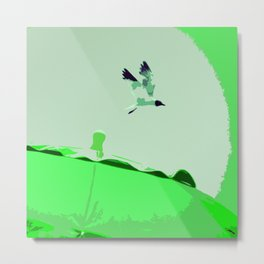 Beach Graphics No 2: Kelly Green Metal Print