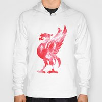 liverpool Hoodies featuring Liverpool Liver Bird watercolour  by sarah illustration