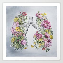 Floral Anatomy Lungs Art Print