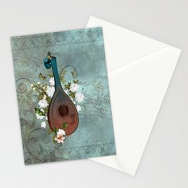 Music, lute with celtic knot Stationery Cards