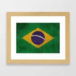 Old and Worn Distressed Vintage Flag of Brazil Framed Art Print