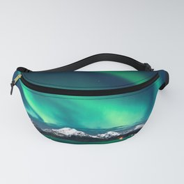 Norway Photography - Green Northern Lights Over Snowy Mountains Fanny Pack