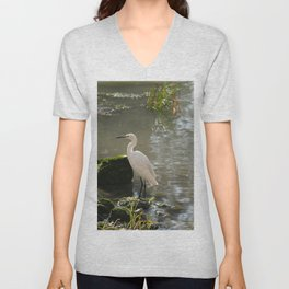 White Egret Unisex V-Neck