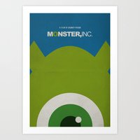 monster inc Art Prints featuring Monster, Inc. - Green (Vintage) by Lemontrend Studio