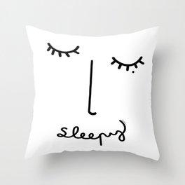 Sleepy Face Throw Pillow