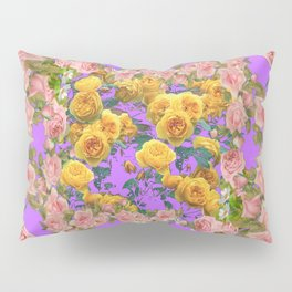PINK & YELLOW SPRING ROSE GARDEN LILAC PURPLE VIGNETTE Pillow Sham
