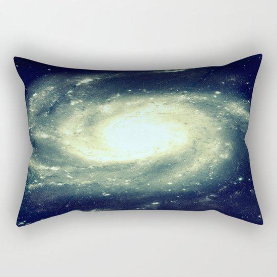 Ivory Teal Pinwheel Spiral Galaxy Space Rectangular Pillow