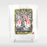 popeye Shower Curtains featuring Rock Of Oyl by Christopher Chouinard