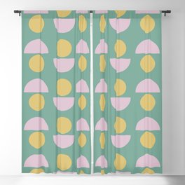 Scandinavian Geometric Pattern in Green, Lavender and Yellow Blackout Curtain