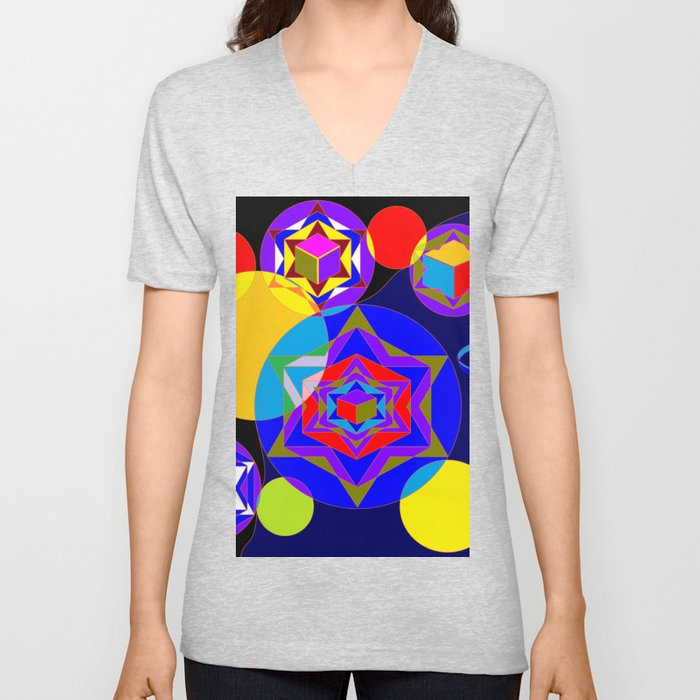 A Galaxy of Stars, Cubes and Planets Unisex V-Neck
